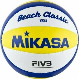 Мяч для пляжного волейбола сувенирный  MIKASA VX3.5 р.1, диам. 15 см, синт. кожа ПВХ, бело-желто-синий