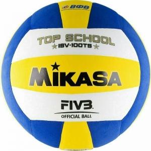 Мяч волейбольный  MIKASA ISV100TS , р.5, синт.пена ТПЕ, клееный, бутиловая камера , бел-жел-син