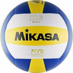 Мяч волейбольный  MIKASA MV5PC , р.5, синтетическая кожа (ПВХ), клееный, бутиловая камера , бел-син-желт