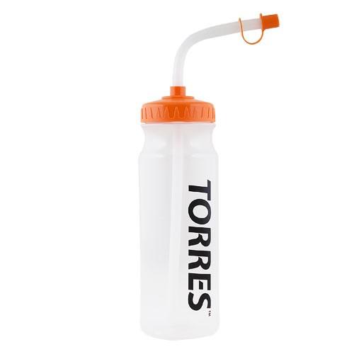 Бутылка для воды TORRES , арт. SS1029, 750 мл, с трубкой, мягкий пластик, прозр., оранж. крышк