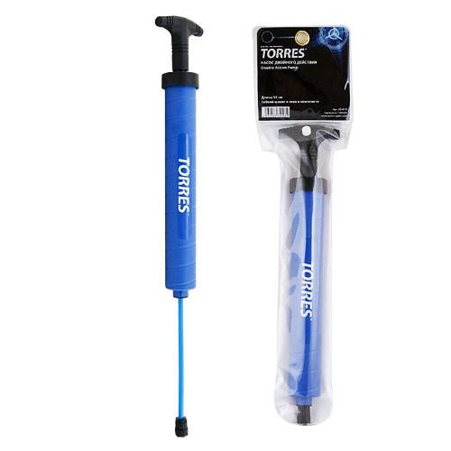 Насос TORRES двойного действия, арт.SS1018, 30 см., пластик, гибкий шланг, игла (7 мм), синий