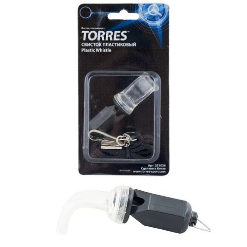 Свисток пластиковый без шарика TORRES , арт.SS1026, шнурок с карабином в комплекте, черный