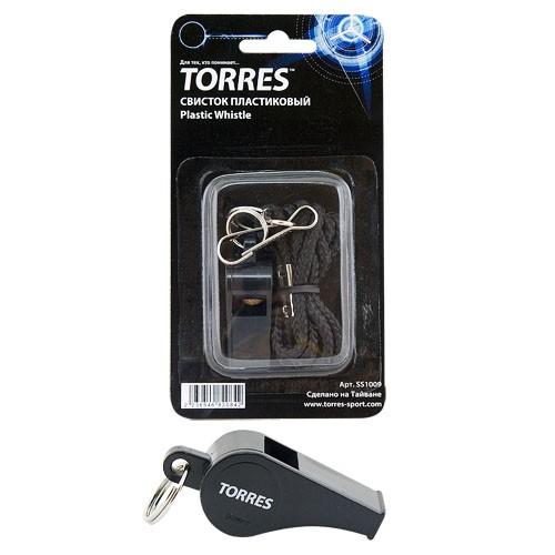 Свисток пластиковый с шариком TORRES , арт.SS1009, шнурок с карабином в комплекте, черный