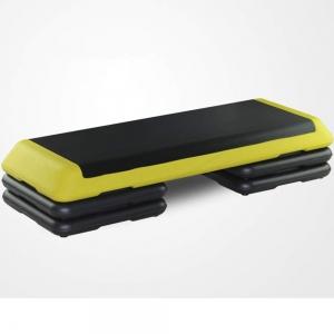 Степ платформа обрезиненная Профи, 3-х уровневая (Желтая) STPRO201-5E