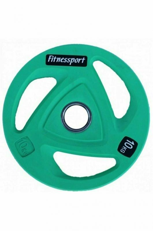 Диск олимпийский обрезиненный цветной Fitnessport 10 кг.  RCP20