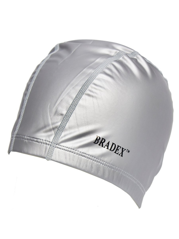 Шапочка для плавания текстильная покрытая ПУ, серая BRADEX SF 0368