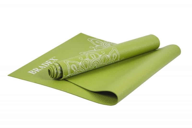 Коврик для йоги и фитнеса 173*61*0,4 с рисунком ГРИН BRADEX SF 0404