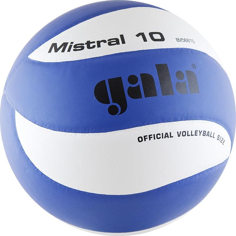 Мяч волейбольный  GALA Mistral 10 арт. BV5661S, р. 5, синт. кожа ПУ, клееный, бут. камера, бело-синий