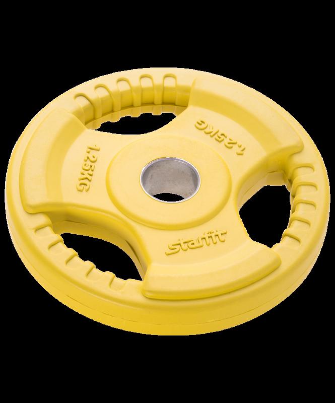 Диск обрезиненный BB-201, d=26 мм, желтый, 1,25 кг, Starfit