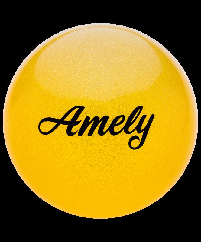 Мяч для художественной гимнастики AGB-102 19 см, желтый, с блестками, Amely