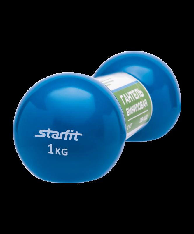 Гантель виниловая DB-102 1 кг, голубая, Starfit