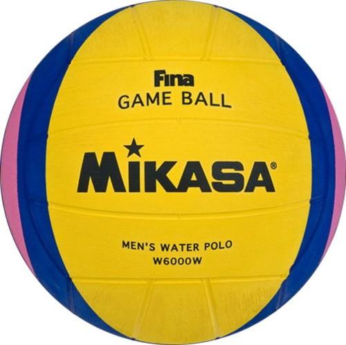Мяч для водного поло MIKASA W6000W р.5,муж., FINA Approved, резина, вес 400-450гр, желт-сине-роз