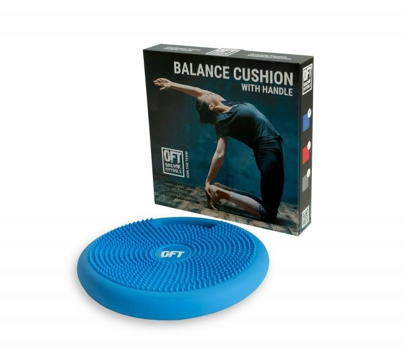 Массажно-балансировочная подушка с ручкой синяя Original FitTools FT-BPDHL (BLUE)