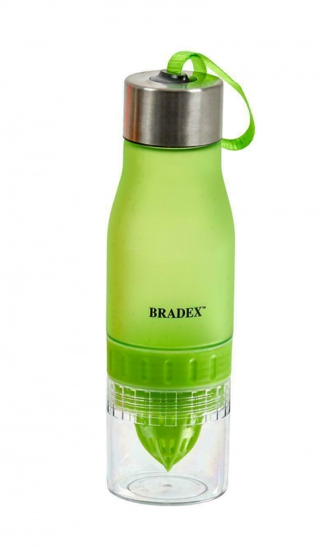 Бутылка для воды с соковыжималкой 0,6 л, салатовая BRADEX SF 0520