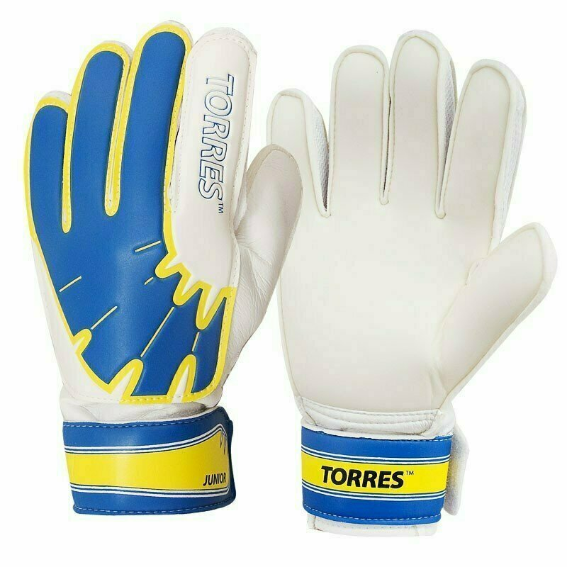 Перчатки вратарские  TORRES Jr. арт. FG05025-BU, р.5, 2 мм латекс, удл.манж.,бело-голуб-желтый