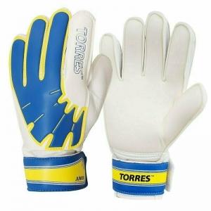 Перчатки вратарские  TORRES Jr. арт. FG05026-BU, р.6, 2 мм латекс, удл.манж.,бело-голуб-желтый