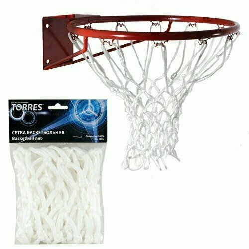 Сетка баскетбольная  TORRES арт.SS110105, ПЭ., 6 мм, дл. 0,55 м, вес 100 гр., белая
