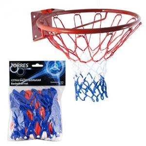 Сетка баскетбольная  TORRES арт.SS11050, ПП, 4мм, дл. 0,55 м, вес 50 г, бело-сине-красная