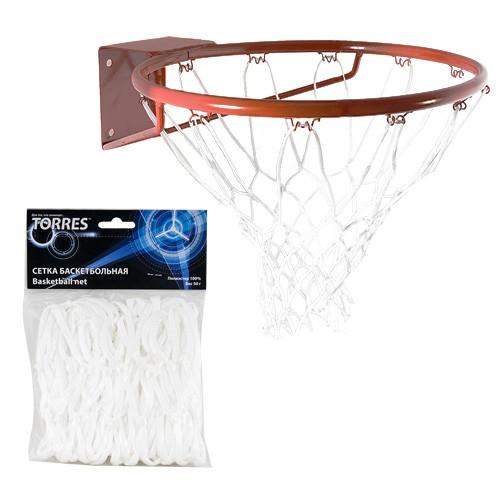 Сетка баскетбольная  TORRES арт.SS11055, ПП, 4мм, дл. 0,55 м, вес 50 гр., белая