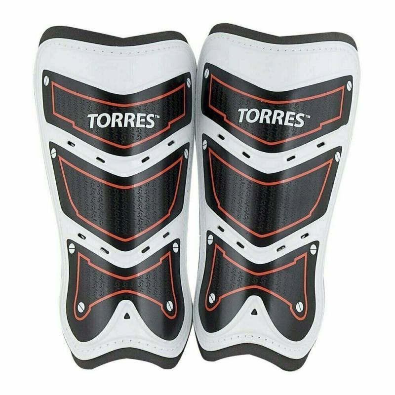Щитки TORRES Training арт. FS1505S-RD, р. S, без голеностопа, две заст. на лип, черно-бело-красн