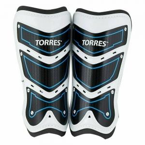 Щитки TORRES Training  арт.FS1505L-BU,р.L, без голеностопа, две заст. на лип, черно-бело-синий