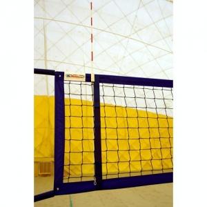 Сетка для пляжного волейбола  KV.REZAC арт.15095029004,8,5х1м,3 мм ПП,яч.10х10см,СИН.ленты ПЭ,кев.трос,чер