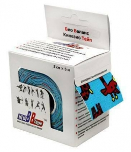 Кинезио тейп BBTape™ 5см × 5м жирафы голубой