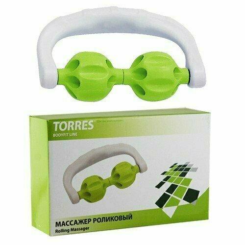 Массажер роликовый TORRES , арт.BL1007, в форме скобы, 2 массажных элемента из пласт., зелено-белый