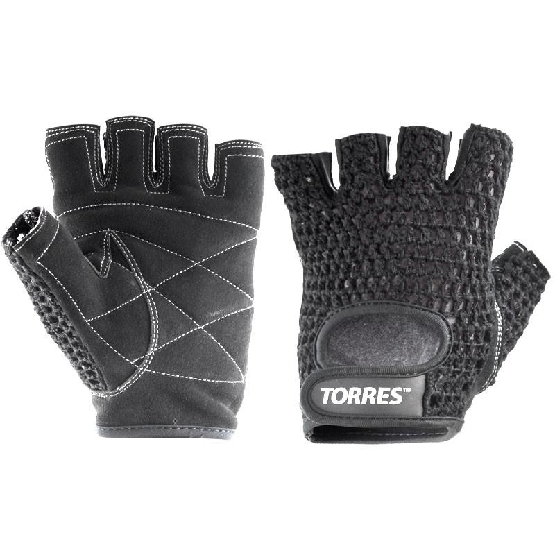 Перчатки для занятий спортом TORRES арт.PL6045S, р.S, хлопок, нат. замша, подбивка 6 мм, черные