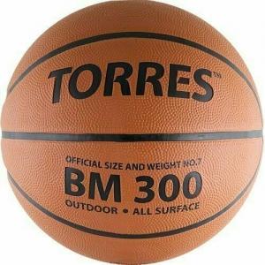Мяч баскетбольный  TORRES BM300 арт.B00017, р.7, резина, нейлон. корд, бут. камера, темнооранж-черн