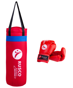Набор для бокса Rusco, 6oz, кожзам, красный