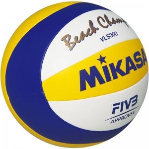 Мяч для пляжного волейбола  MIKASA VLS300 , р.5, FIVB Approved, синтетическая кожа микрофибра, маш.с,бел-син-жел