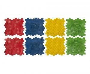Коврик массажный детский, арт. У966, 8 модулей (24,5*24,5*1,4см), мультиколор