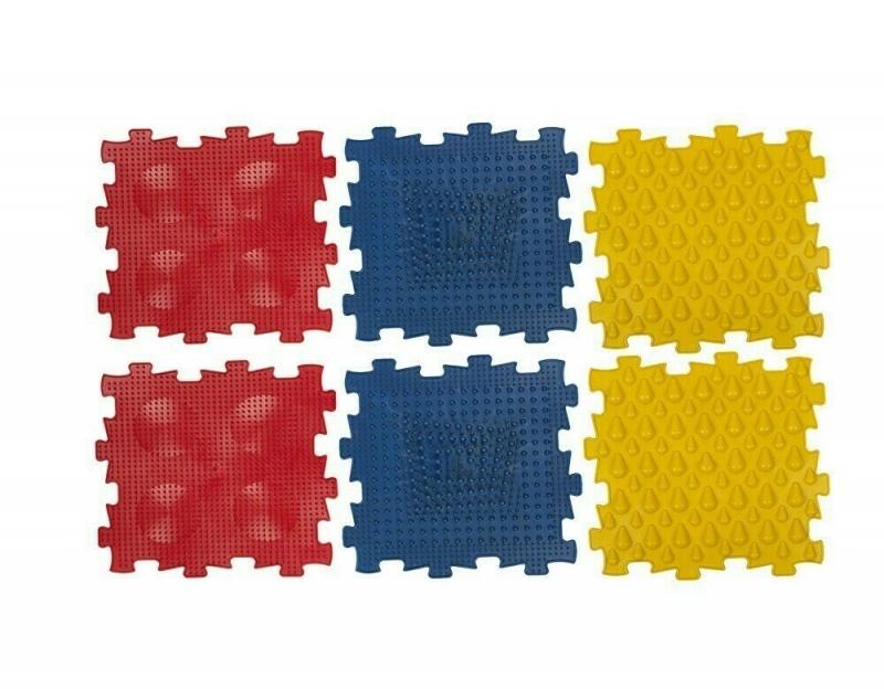 Коврик массажный детский, арт. У967, 6 модулей (24,5*24,5*1,4см), красный, синий, желтый