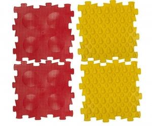 Коврик массажный детский, арт. У968, 4 модуля (24,5*24,5*1,4см), красный, желтый