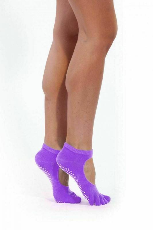 Носки противоскользящие для занятий йогой открытые, фиолетовые BRADEX SF 0347