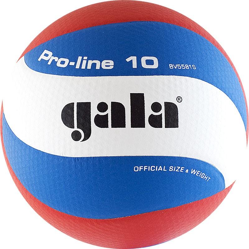 Мяч волейбольный  GALA Pro-Line 10 арт. BV5581S, р. 5,синтетическая кожа ПУ Microfiber,клееный,бутиловая камера ,бело-гол-крас