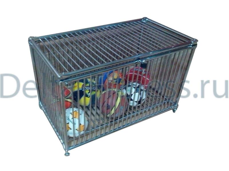 Корзина для мячей, мелкая решетка, на колесиках, закрытая