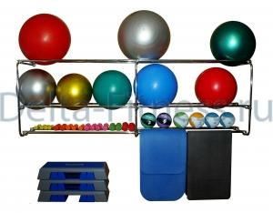 Консоль 3 уровневая для фитболов, медболов, ковриков и гантелей