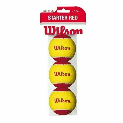 Мяч теннисный WILSON Starter Red, арт.WRT137001,уп.3 шт, фетр,нат.резина,желто-красный