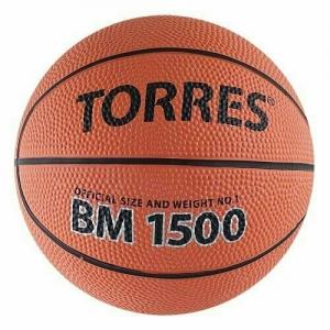 Мяч баскетбольный сувенирный TORRES BM1500 арт.B00101, р.1,диам. 12 см, резина, нейлон. корд,бут. кам,кор-черн