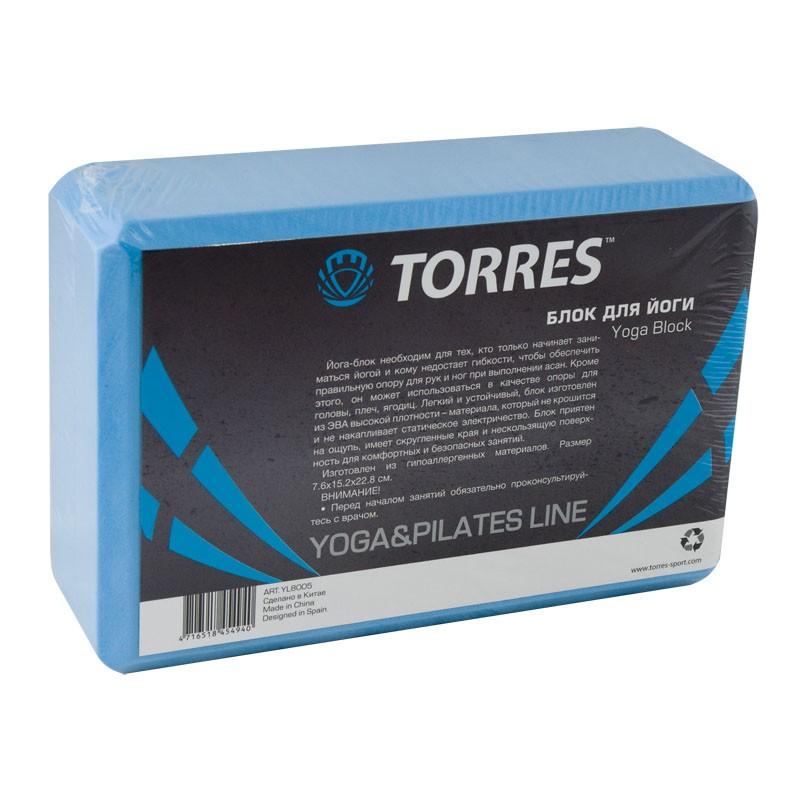 Блок для йоги TORRES арт.YL8005, размер 8x15x23 см, материал ЭВА, голубой