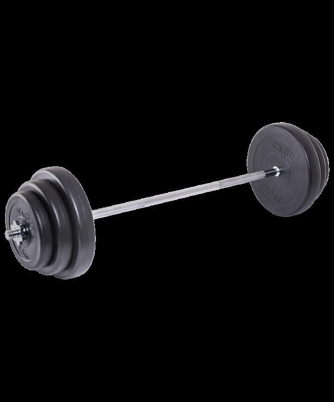 Штанга разборная BB-401, стальной гриф, пластиковые диски, 40 кг, Starfit