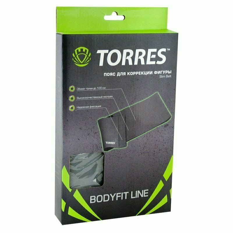 Пояс для коррекции фигуры TORRES широкий арт.BL6002, неопрен 3 мм, длина 100 см, шир. 25 см, сер.