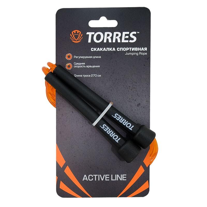 Скакалка TORRES арт.AL1001, трос из ПВХ, эргономичные ручки, средняя скорость вращения, оранжевая