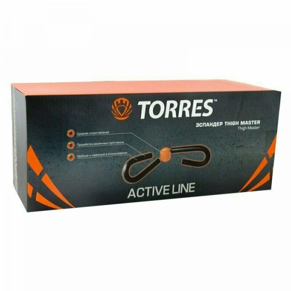 Эспандер TORRES Thigh master арт.AL1009, пластиковая защита пружины, мягкие ручки, серо-оранжевый