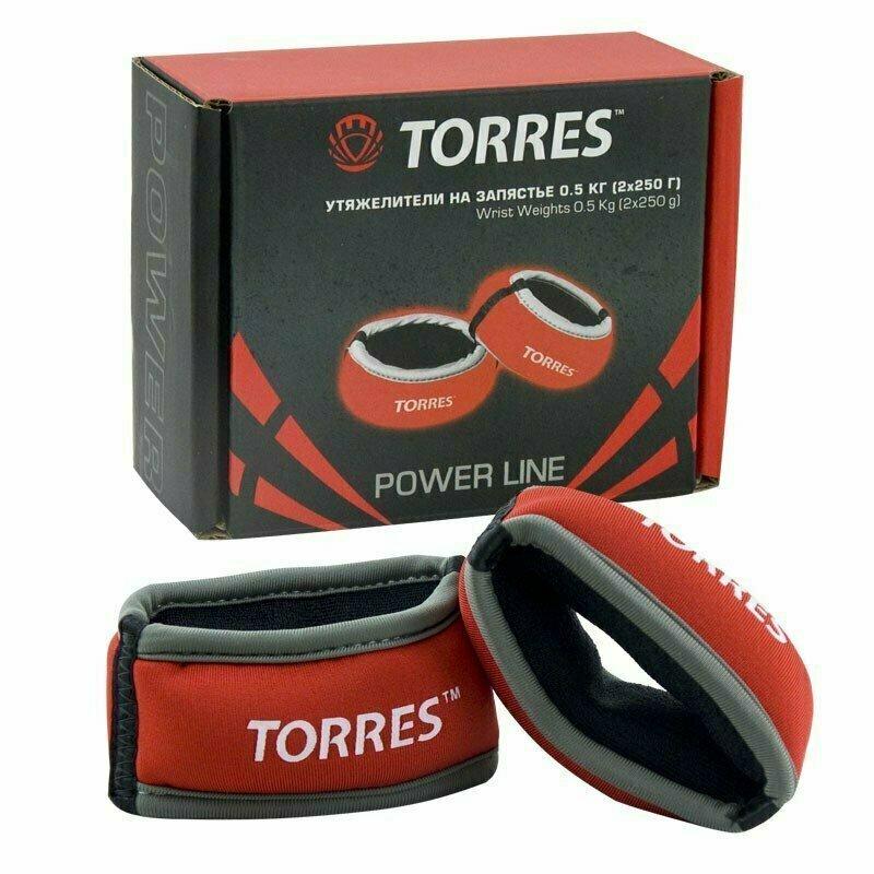 Утяжелители на запястье TORRES 0,5 кг арт.PL607605, (2штх250г), нейлон, металл. песок, красн-сер.