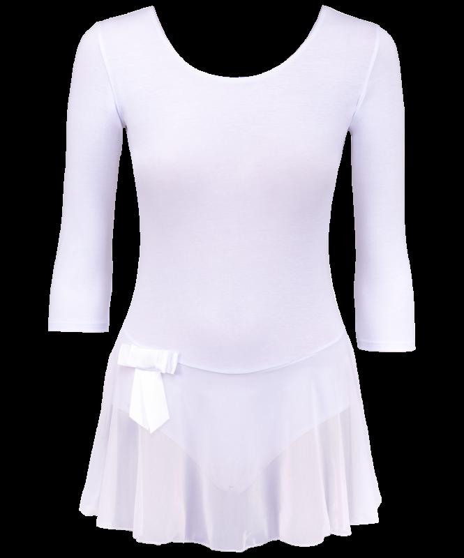 Купальник гимнастический AA-181, рукав 3/4, юбка сетка, хлопок, белый (28-34), Amely