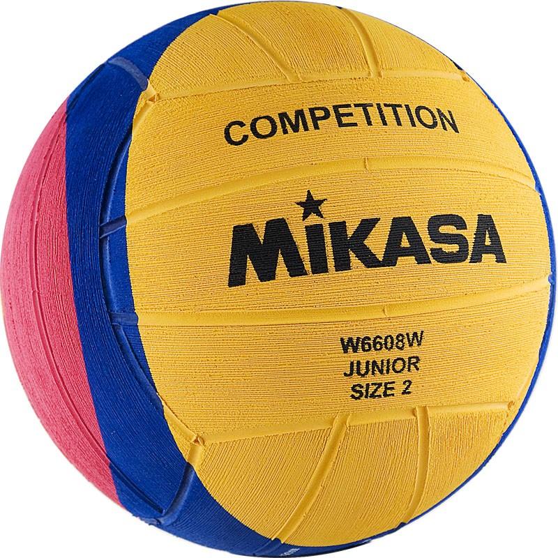 Мяч для водного поло MIKASA W6608W р.2, jun, резина, вес 300-320 г, дл. окр.58-60см,желт-син-роз