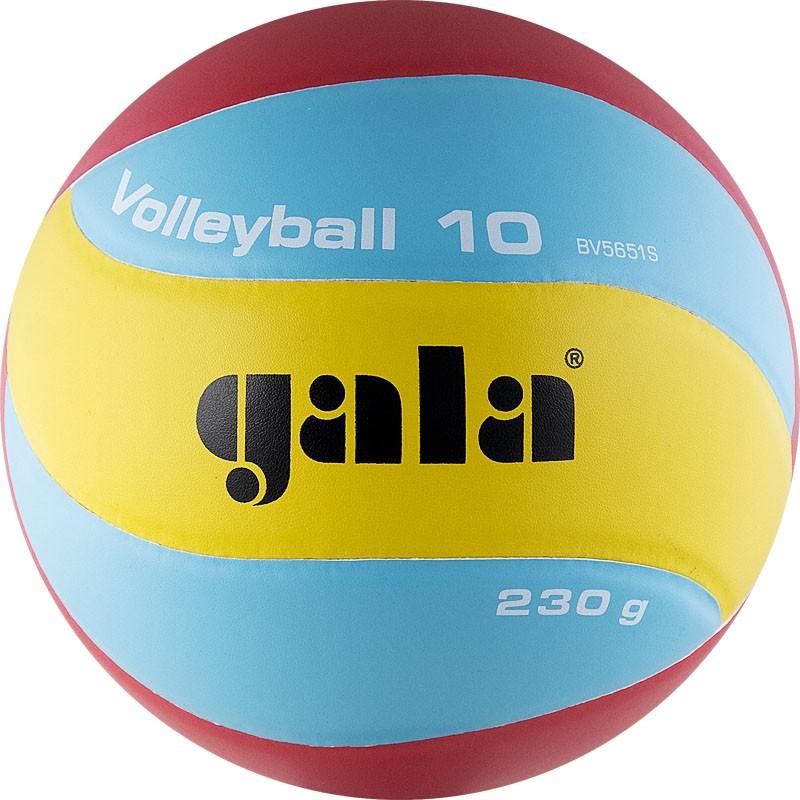 Мяч волейбольный  GALA 230 Light 10 арт. BV5651S, р. 5, синт. кожа ПУ, клееный, бут. кам, голубо-красн-желт